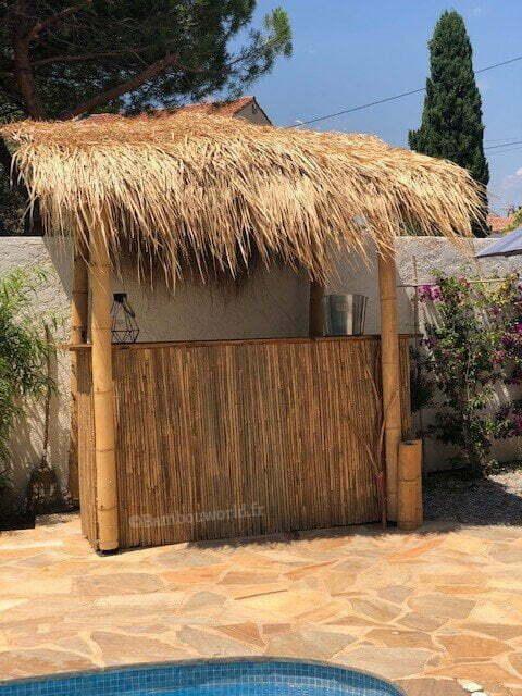 feuilles de palme ou paille pour bar en bambou