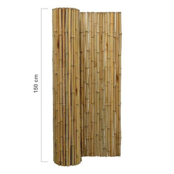 clôture bambou avec bambous entier couleur naturelle