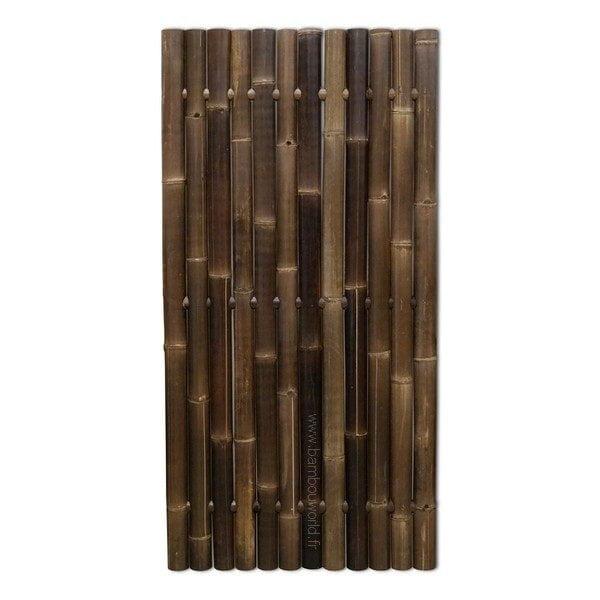 panneau ou palissade clôture en bambou noir avec gros tiges