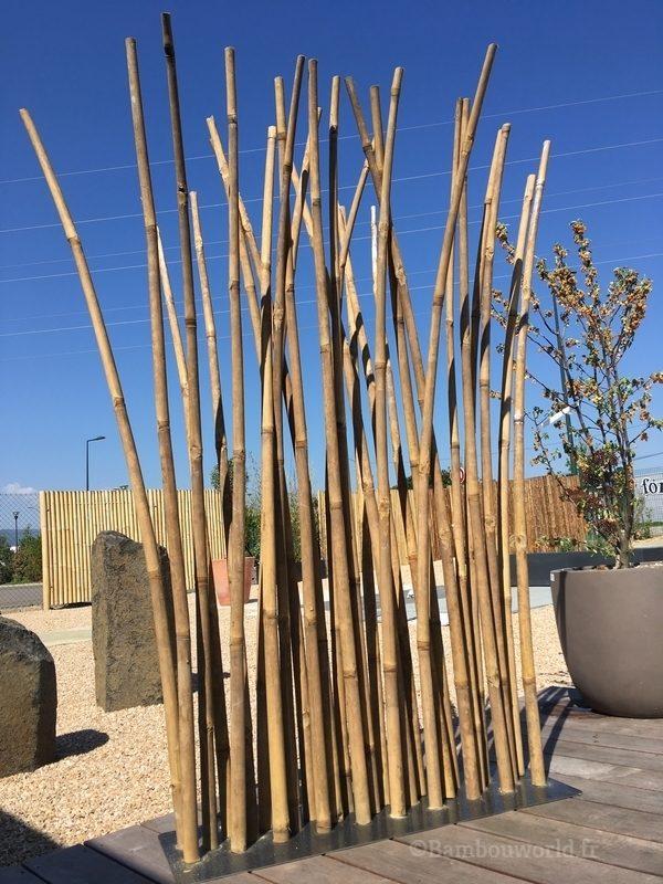 paravent bambou avec 29 bambous sur un socle en acier
