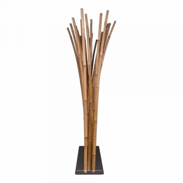 paravent bambou couleur naturelle sur socle noir