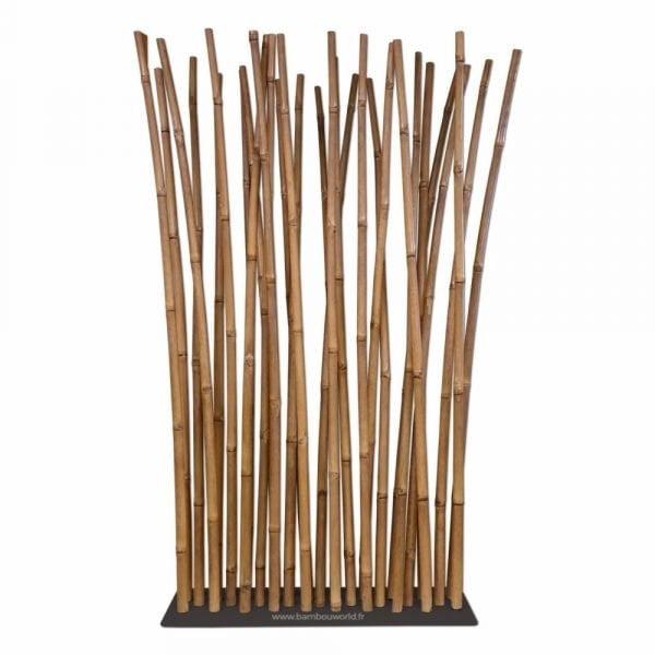 paravent en bambou sur socle noir en acier