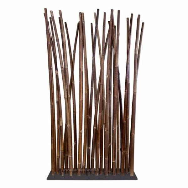 Paravent avec chaumes de bambou noir sur pied noir