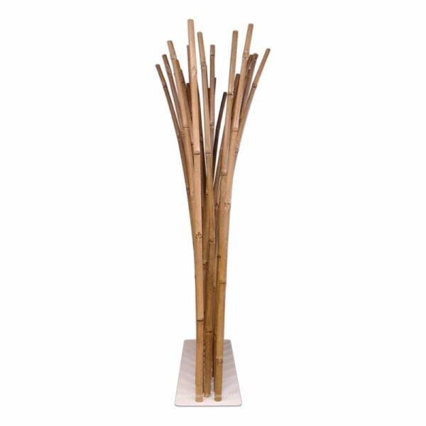 paravent bambou canne en couleur naturelle et une socle blanc