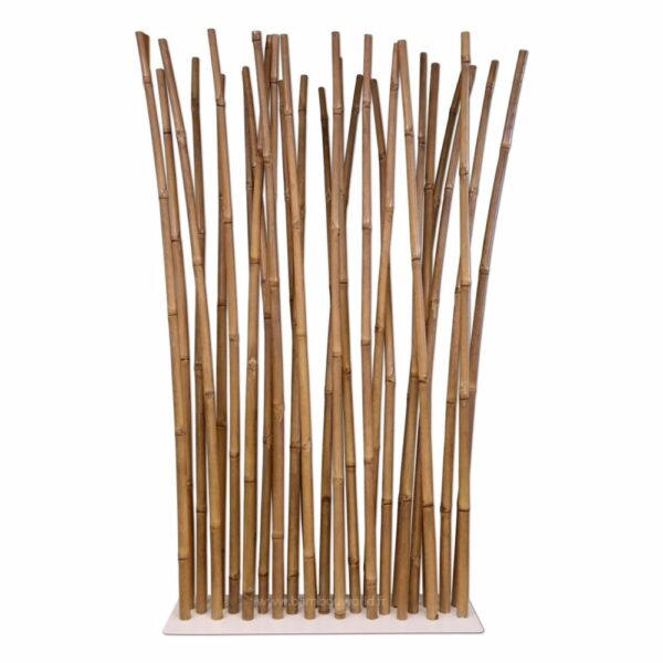 paravent en bambous naturel avec pied blanc