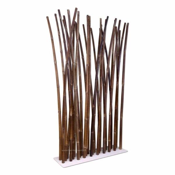 Paravent en bambou avec socle en acier peint blanc