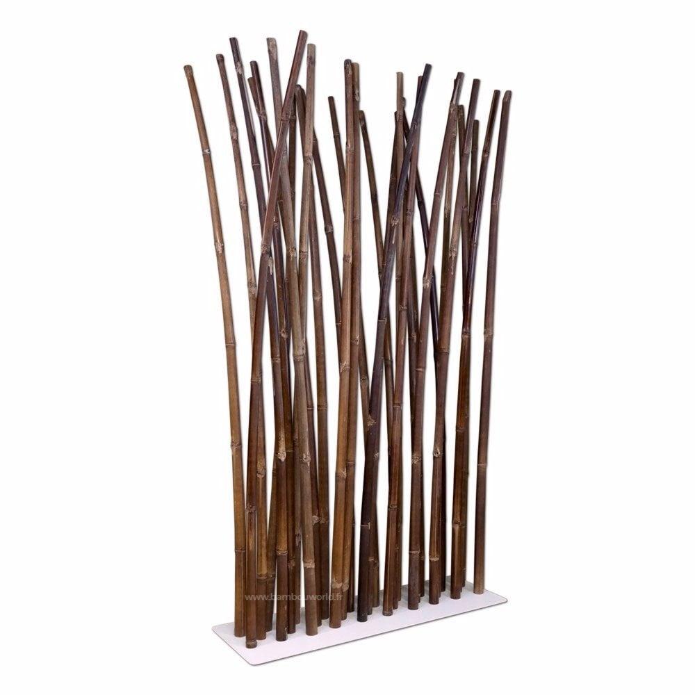 paravent bambou noir sur pied blanc bambouworld. Black Bedroom Furniture Sets. Home Design Ideas