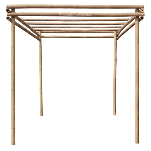 pergola en bambou clair 3 x 3 x 3 m