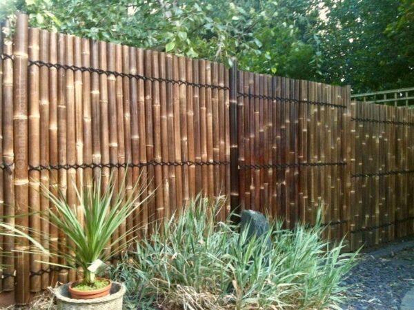 claustra en demi-bambou couleur foncé